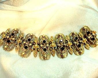 Wide Ornate Black Rhinestone Faux Pearl Link Bracelet - Vintage