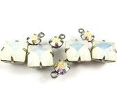2 - Vintage Glass Square and Round Stones in 1 Ring 2 Stones Silver Antique Brass Prong Settings - White Opal & AB Crystal - 18x11mm