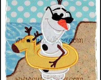Cold Snowman Swim Applique Machine Embroidery Design (DIGITAL ITEM)