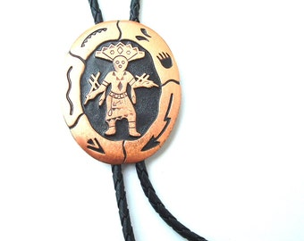 Vintage Bolo Tie Native American Arrow Copper Jewelry Southwestern Totem Kachina Dancer Accessories
