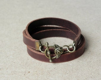 Leather Bracelet Wrap Bracelet Leather Cuff  with Rose Toggle Clasp in brown