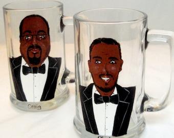 Set of Two - Groomsmen Gifts-Personalized Beer Glasses (2 glasses) -Custom Caricatures-Portrait Beer Mug-