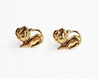Gold Lion Studs