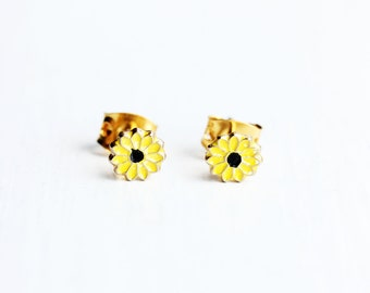 Yellow Daisy Studs, Enamel Studs, Flower Studs, Enamel Flower Studs, Gold Flower Studs, Yellow Studs, Daisy Earrings