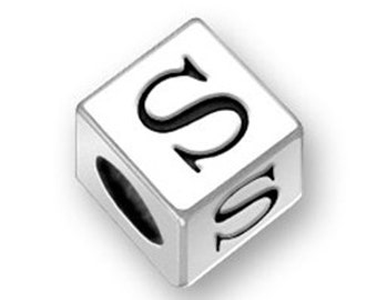 4.5mm Square Letter S bead Sterling Silver, Alphabet Beads