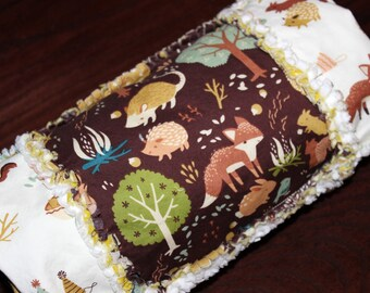 Organic, Unisex, Toddler, Blanket, Cream, Brown, Blue, White, Lid'l Scrapper Organic Multipurpose Rag Quilt, Fort Firefly, Nursery Flannels