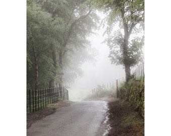 Misty Morning Fine Art Photography Scottish landscape Dreamy Romantic rural Scotland Soft green foggy farmland sage green Outlander inspired