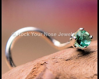 Emerald Nose Stud (2mm Faceted) set in Silver - CUSTOMIZE