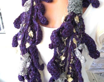 SALE Women Crochet Scarf   Circle  Scarf  Necklace Scarf  Purple  Womens Scarf   knit accessories Scarf  winter Fashion Accessories