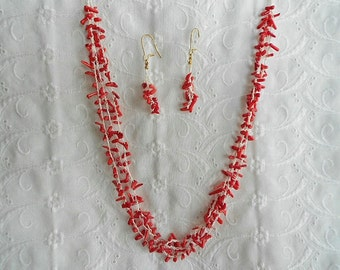 Multi-Strand Necklace Crocheted with Coral Beads and Earrings   !!CLEARANCE SALE!!