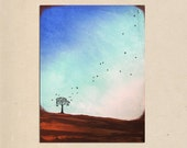 tall one - 18 x 24, original minimal contemporary acrylic tree bird landscape abstract PAINTING canvas by Shanna