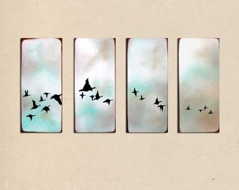 Custom Geese in the sky - 40 x 20 - simple minimal landscape contemporary earthy modern rustic sky bird art PAINTING on canvas