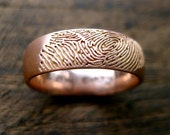 Finger Print Ring in 14K Rose Gold with Smooth Satin Finish and Handwritten Quote Engraving Size 9