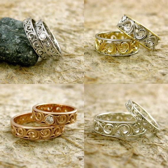 Order Your Pair of Handmade Wedding Rings with Scrolls & Gems