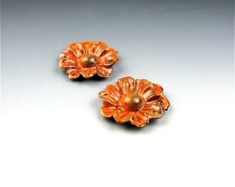 Enameled Daisy / Sunset Orange Enamel / Made to Order
