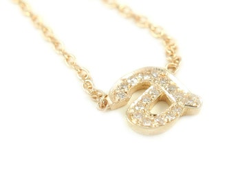 Lower Case Diamond Initial Pendant, Micro Pave' Diamond Necklace With Personilize Initial, 14K Gold Necklace