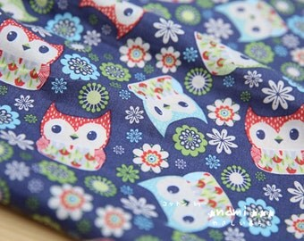Owl Hoot Collection, Shabby Chic Blue Colorway Floral Red and Pale Blue Baby Hoot Owls -Japanese Thin Cotton Fabric (1/2 Yard)