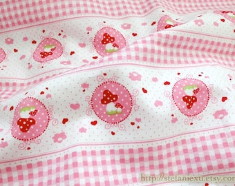 Fairy Tale Collection, Sweet Pink Floral Polka Dots Mushroom Doily Heart Stripe Check Patchwork- Cotton Fabric (Fat Quarter)