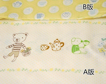French Style Petit Spring Garden Afternoon Tea Bear Squirrel Bunny Birds Duck Elephant Dots, Choose Pattern-Cotton Sheet Fabric (1/2 Yard)