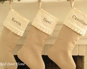 Personalized Linen Christmas Stocking Embroidered Name Monogram Cuff with Ruffle Edge natural white ivory