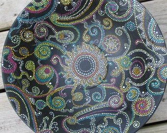 large upcycled vintage aluminum bowl hand painted abstract cosmic dots original
