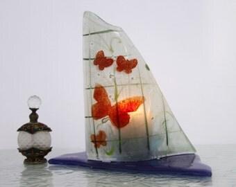Candle Holder, Red Butterflies landscape, fused Glass art design