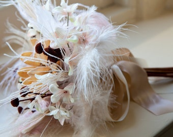 Reserve order: 6 Blush Pink Flowers and Feathers Bouquet