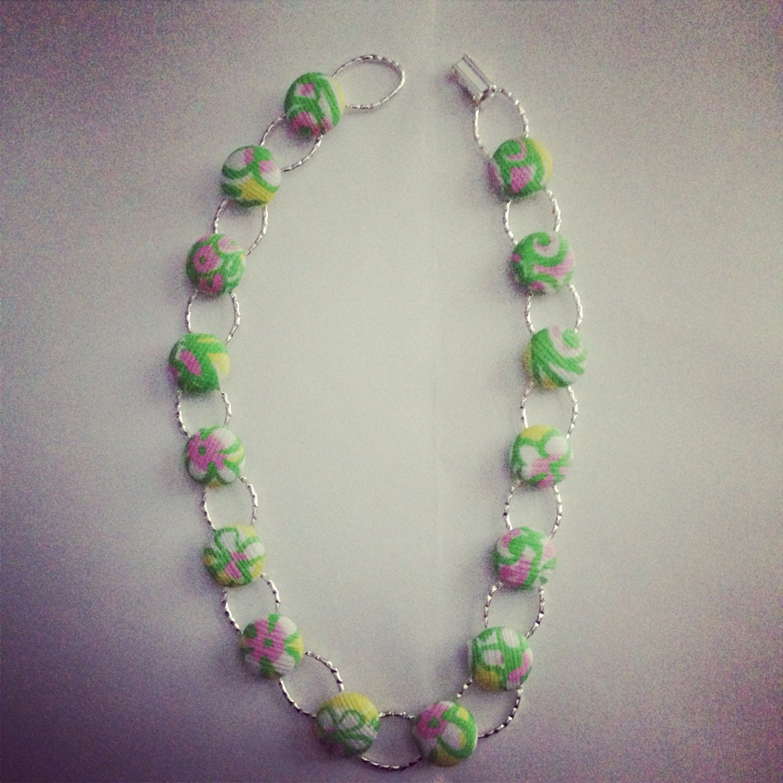 preppy coverbutton necklace preppy inspired necklace green