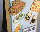 Handmade Stampin Up Birthday Wishes Blank Card: Beach Birthday Wishes