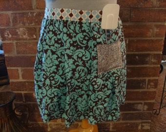Fabulous and Funky Kitchen Apron - turquoise and brown