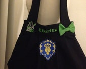 Custom Embroidered WoW Purse - choose your Faction, Class and Name