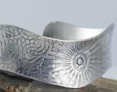 RESERVED Eco Friendly Sterling Silve Cuff Bracelet, One of A Kind Cuff, Sunburt Cuff, Spiral Cuff