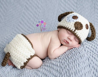 Spot the Sweet Puppy Hat and Diaper Cover Set - Photography Prop