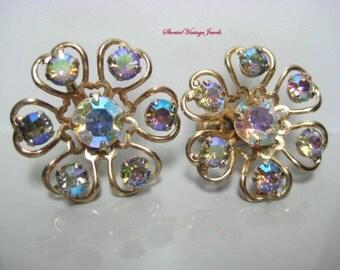 Vintage Floral Earrings Aurora Borealis  Rhinestones Sparkling Iridescence