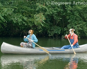 Dog Paddle, large original photograph of two boxer dogs wearing clothes and paddling a canoe down a green river