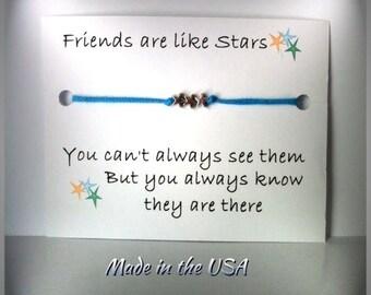 Tiny Star Friend bracelet, Charm bracelet, Friendship bracelet, Adjustable slide bracelet