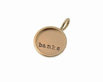 Solid Gold Name Charm Necklace Custom 14K Rimmed Initial Pendant Personalized Hand Stamped Engraved Artisan Handmade Fine Designer Jewelry