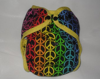 Rainbow peace signs PUL diaper cover