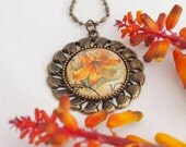 orchid flower necklace, vintage postage stamp jewelry, Russian vintage 1989, upcycled jewelry