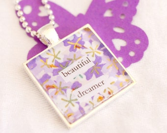 beautiful dreamer necklace, chiyogami paper jewelry, square pendant, dreamer jewelry