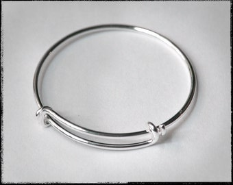 Baby Bangle!  Tiny Adjustable Silver bangle bracelet for charms.  For stacking, charm bracelets. Bracelet blanks. Jewelry supplies (WD35)