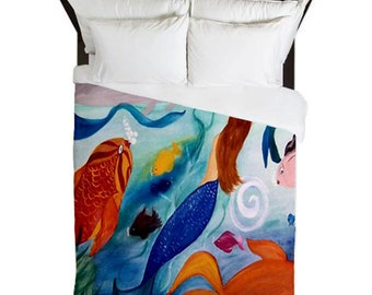 Tropical Fish and Mermaid Party Duvet Cover from my art. Available in twin,queen and king sizes