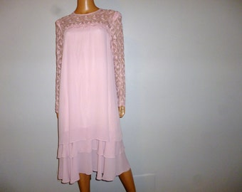 """Vintage 1980's - Embellished  - Lace- Baby Pink - Layered  - Dress - 44"""" bust"""