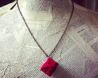 Mini book necklace, red leather