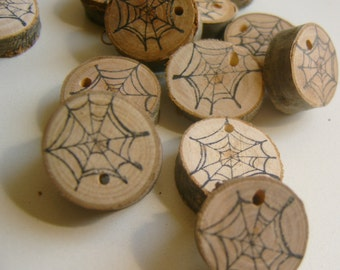 50 Black Web  Wooden Tags Pastel Goth Psychobilly Party Favor DIY Decor