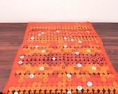 Vintage Silk Scarf in Orange Mod Pattern