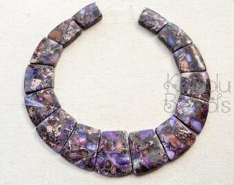 Purple Impression Jasper with pyrite Trapezoidal Graduated focal bead Set