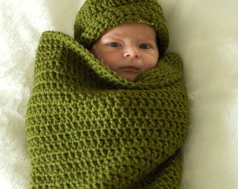 Pea in a Pod, Infant Cocoon, Crochet, You Choose Color