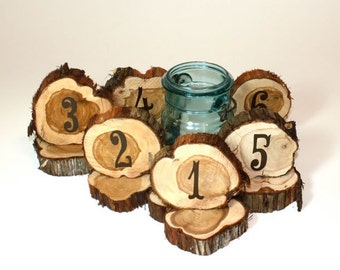 Wedding Table Numbers, rustic cedar circles, set of 22, natural unfinished cedar wood for rustic or woodland weddings