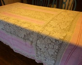 RESERVED Until 05/06/16 - SALE Vintage Pink and Ecru Lace Tablecloth 72 X 80